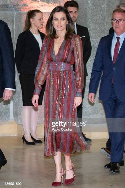 Queen Letizia of Spain attends the National Culture Awards at El Prado Museum on March 19, 2019 in Madrid, Spain.