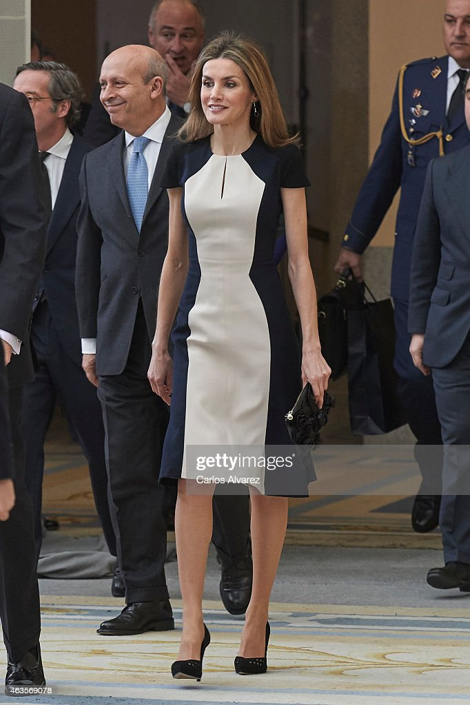 Queen Letizia of Spain attends the 'National Culture' awards at the El Pardo Palace on February 16, 2015 in Madrid, Spain.