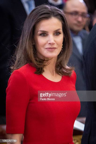 Queen Letizia of Spain attends the National Sports Awards 2017 at the El Pardo Palace on January 10, 2019 in Madrid, Spain.