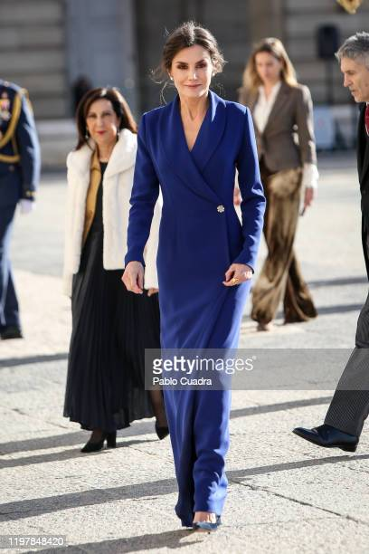 Queen Letizia of Spain attends the New Year Military parade 2020 celebration at the Royal Palace on on January 06 2020 in Madrid Spain