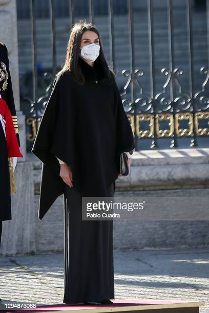 Queen Letizia of Spain attends the New Year Military parade 2020 celebration at the Royal Palace on January 06, 2021 in Madrid, Spain.
