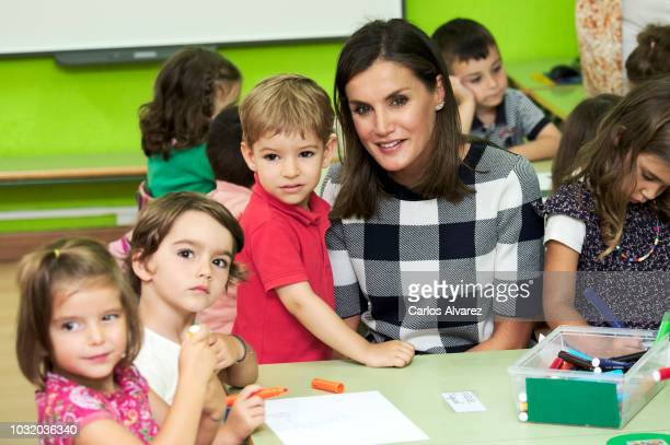 Queen Letizia of Spain attends the opening of 20182019 school course at 'Baudilio Arce' school on September 12 2018 in Oviedo Spain