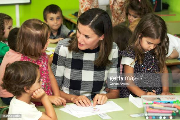 Queen Letizia of Spain attends the opening of 2018/2019 Scholarship course at Baudilio Arce school on September 12 2018 in Oviedo Spain