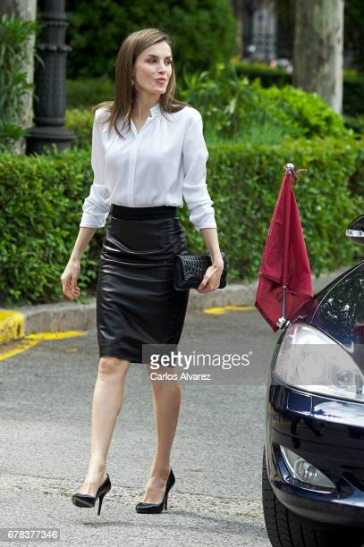 Queen Letizia of Spain attends the opening of 'Escripta Tesoros Manuscritos de la Universidad de Salamanca' exhibition at the National Library on May...