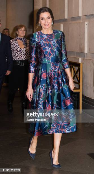 Queen Letizia of Spain attends the opening of Sorolla Spanish Master of Light at National Gallery on March 13 2019 in London England