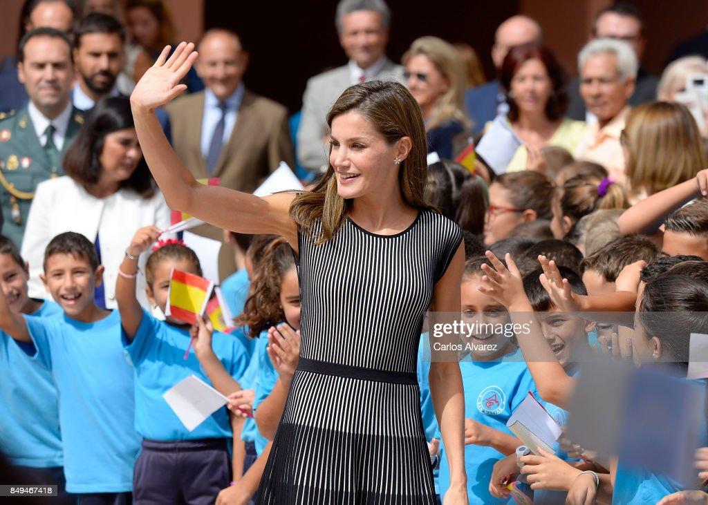 Queen Letizia of Spain attends the opening of the 2017-2018 scholarship course at 'San Matias' School Centre on September 19, 2017 in Santa Cruz de Tenerife, Spain.