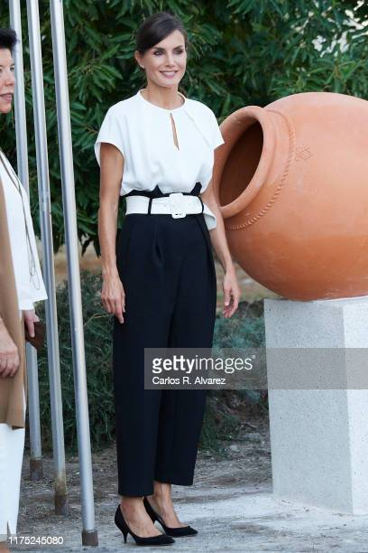 Queen Letizia of Spain attends the opening of the 20192020 scholarship course at 'Batalla de Pavia' and 'Via Dalmacia' School Centres on September 17...