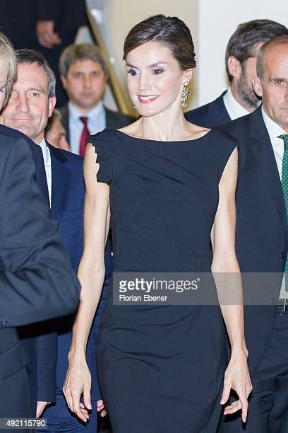 Queen Letizia of Spain attends the opening of the exhibition 'Zurbaran Master The Details' at Kunstpalast Museum on October 9 2015 in Duesseldorf...