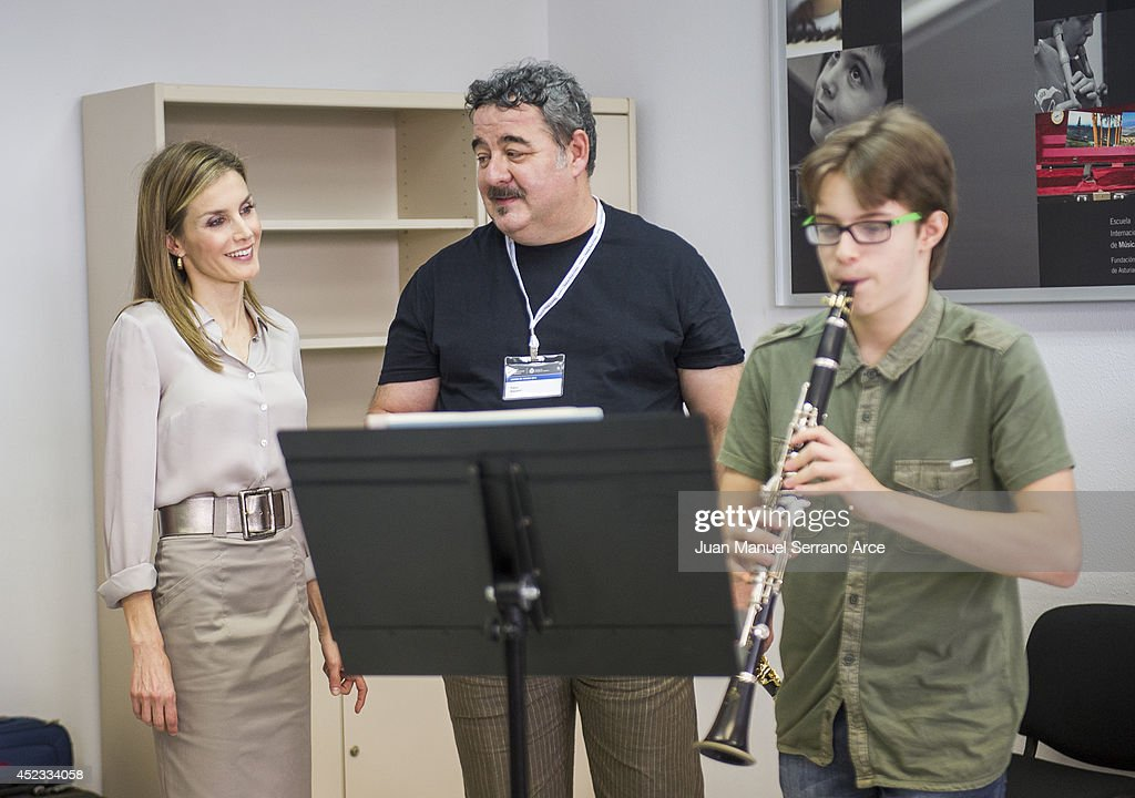 Queen Letizia Of Spain Attends The Opening Of The International Music School Summer Courses By Prince Of Asturias Foundation : News Photo