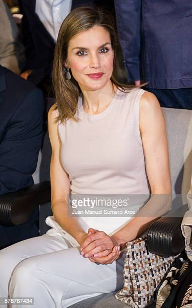 Queen Letizia of Spain attends the opening of the International Music School Summer Courses by Princess of Asturias Foundation at on July 22 2016 in...