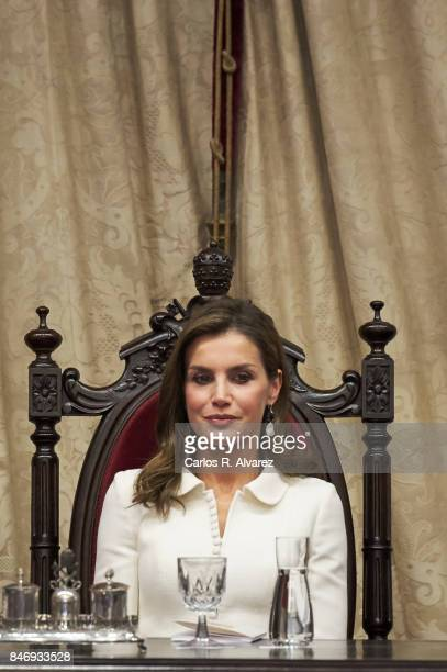 Queen Letizia of Spain attends the opening of the Scholar University College year at the Salamanca University on September 14 2017 in Salamanca Spain