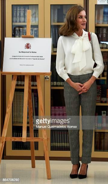 Queen Letizia of Spain attends the Opening of vocational training course 2017/2018 at Instituto de Educacion Secundaria 'Segundo de Chomon' on...