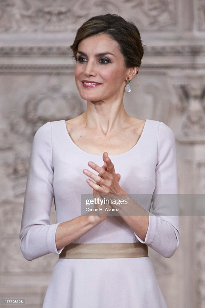Queen Letizia of Spain attends the 'Order of the Civil Merit' ceremony at the Royal Palace on June 19, 2015 in Madrid, Spain. Spanish Royals celebrate the first anniversary since King Felipe VI Coronation.