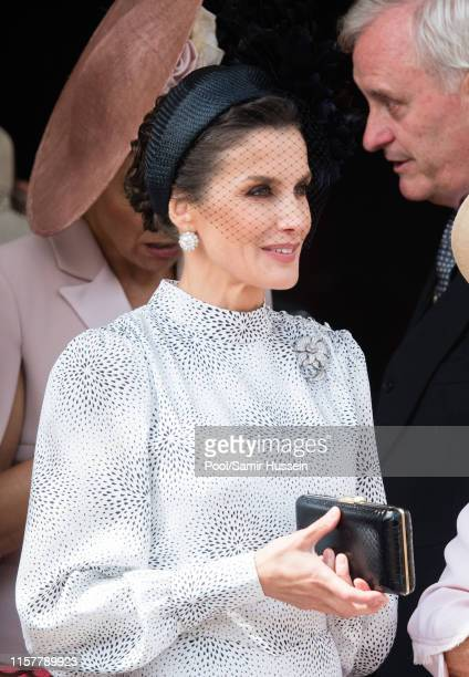 Queen Letizia of Spain attends the Order of the Garter Service at St George's Chapel on June 17 2019 in Windsor England