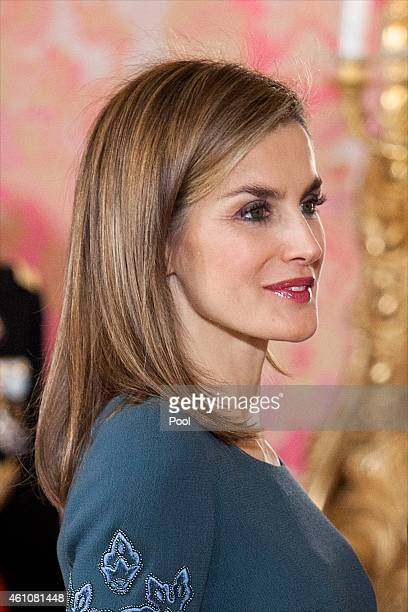 Queen Letizia of Spain attends the Pascua Militar ceremony at the Royal Palace on January 6, 2015 in Madrid, Spain.