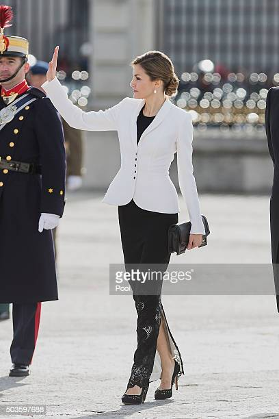 Queen Letizia of Spain attends the Pascua Militar ceremony at the Royal Palace on January 6 2016 in Madrid Spain