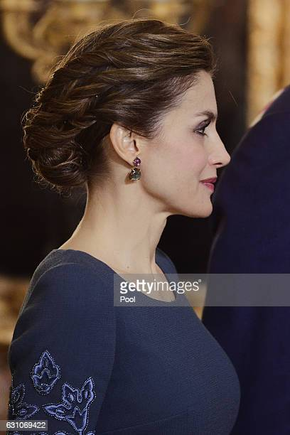 Queen Letizia of Spain attends the Pascua Militar ceremony at the Royal Palace on January 6 2017 in Madrid Spain