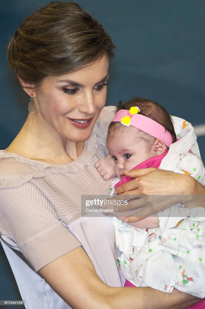 Queen Letizia of Spain attends the presentation of the 'Orchestrated Neighborhoods' at the El Batan stadium on April 24, 2017 in Las Palmas de Gran Canaria, Spain.