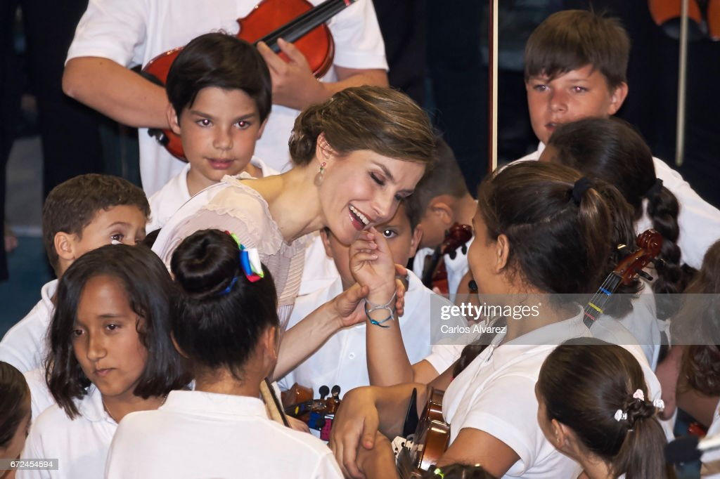 Queen Letizia of Spain (C) attends the presentation of the 'Orchestrated Neighborhoods' at the El Batan stadium on April 24, 2017 in Las Palmas de Gran Canaria, Spain.