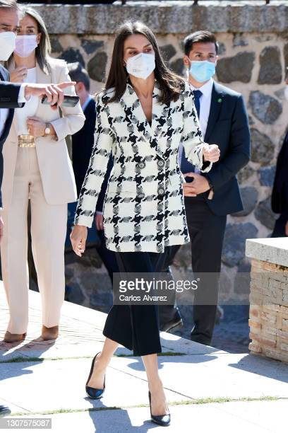 Queen Letizia of Spain attends the proclamation of the winner of the 2021 Princess of Girona Foundation Business category at the Victorio Macho...