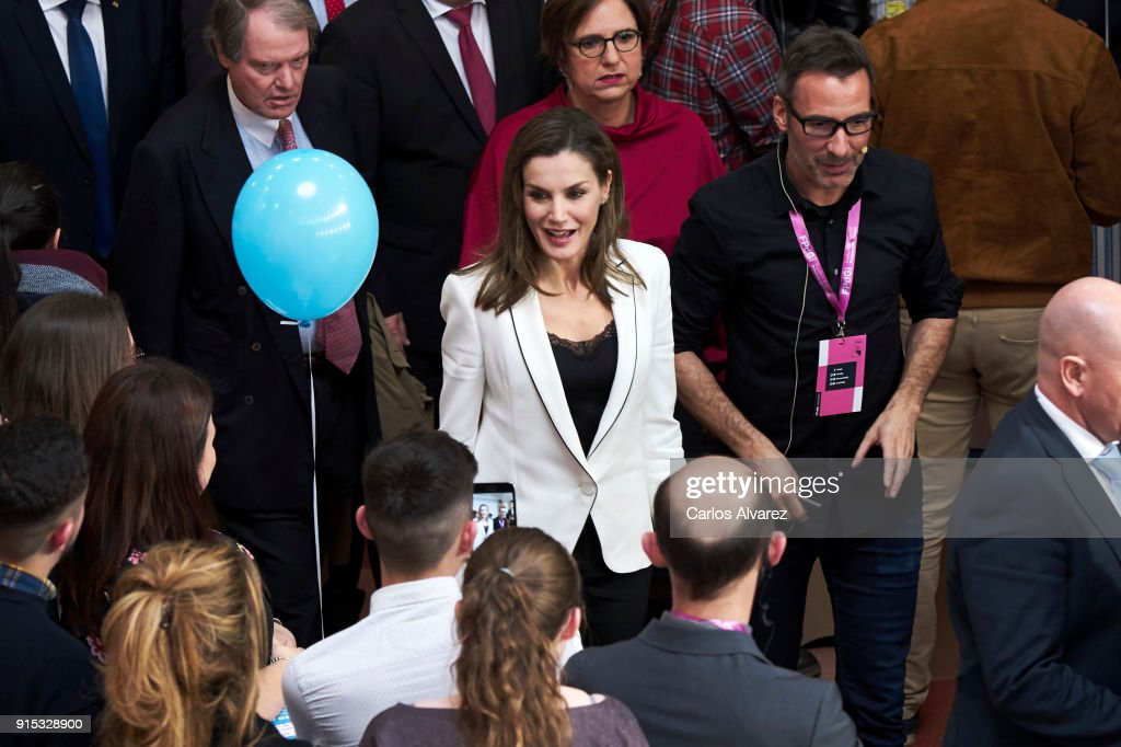 Queen Letizia of Spain attends the proclamation of the winner of the '2018 Princess of Girona Foundation' Arts and Literature category at the Alcazabar Cultural Center on February 7, 2018 in Merida, Spain.