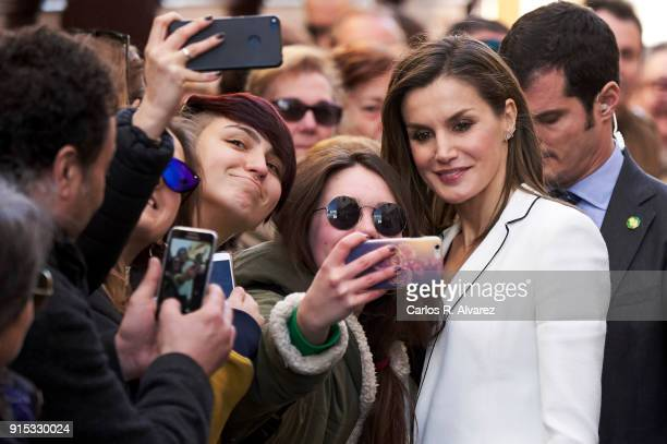 Queen Letizia of Spain attends the proclamation of the winner of the '2018 Princess of Girona Foundation' Arts and Literature category at the...