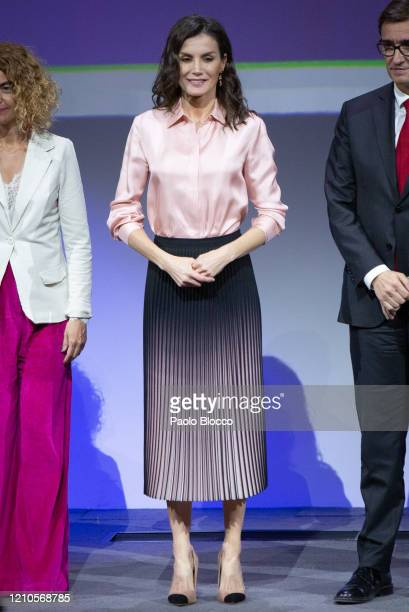 Queen Letizia of Spain attends the Rare Diseases World Day event at BBVA headquarters on March 05, 2020 in Madrid, Spain.