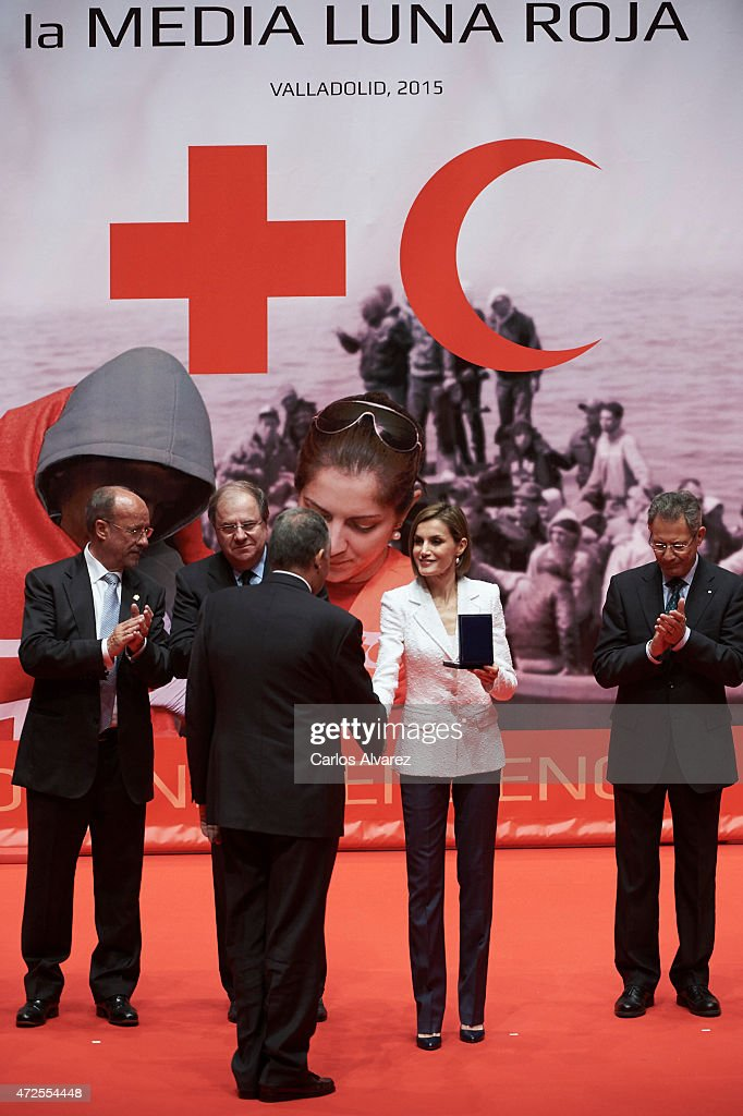 Queen Letizia of Spain (2R) attends the Red Cross World Day Commemoration at the Miguel Delibes auditorium on May 8, 2015 in Valladolid, Spain.