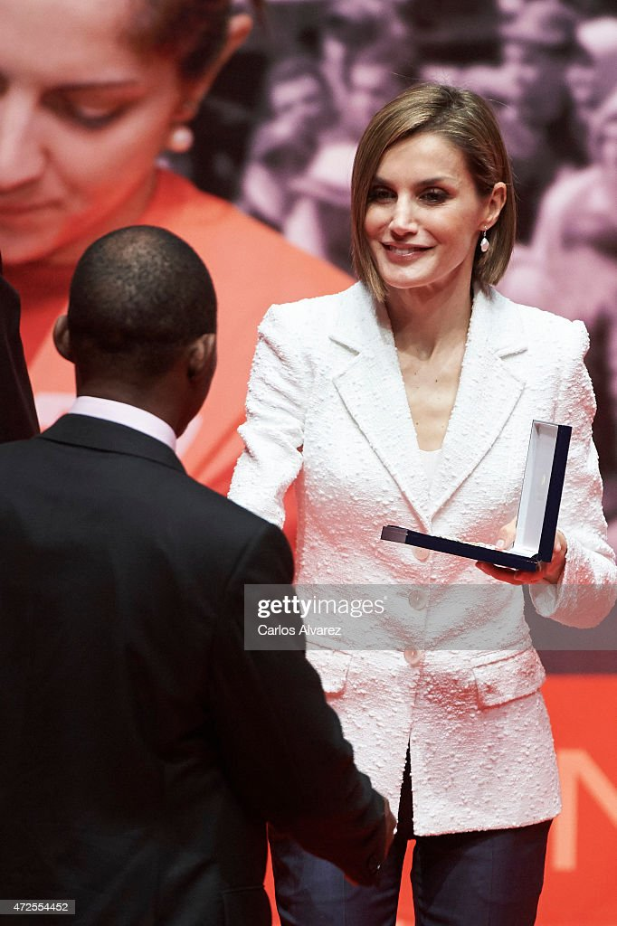 Queen Letizia of Spain (R) attends the Red Cross World Day Commemoration at the Miguel Delibes auditorium on May 8, 2015 in Valladolid, Spain.