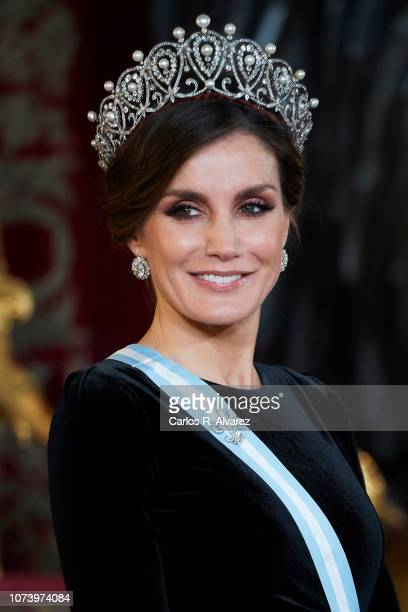Queen Letizia of Spain attends the Royal Gala Dinner in honour of Chinese president Xi Jinping and wife Peng Liyuan at the Royal Palace on November...