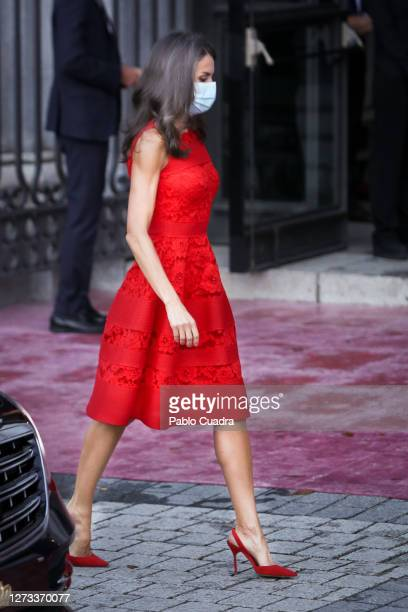 Queen Letizia of Spain attends the Royal Theatre season inauguration on September 18 2020 in Madrid Spain