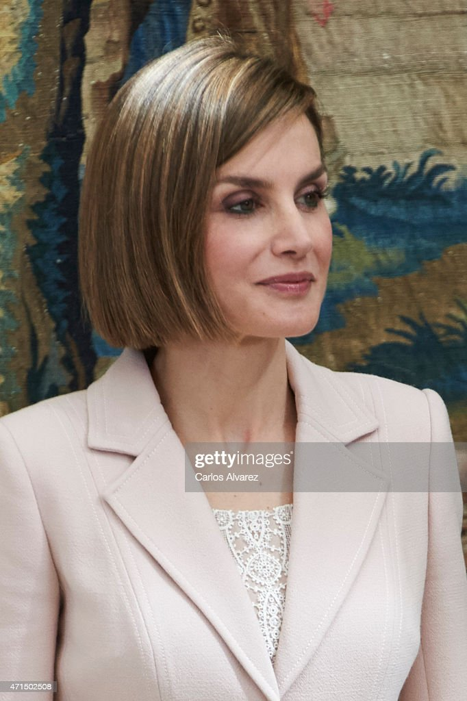 Queen Letizia of Spain attends the 'Royal Trust Disability Reina Sofia 2014 Awards' at the El Pardo Palace on April 29, 2015 in Madrid, Spain.