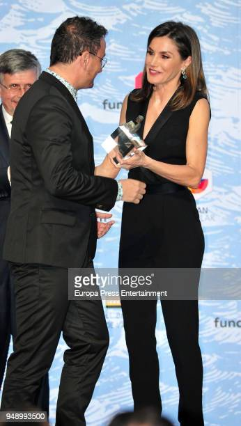 Queen Letizia of Spain attends the SM 'Barco de Vapor' and 'Gran Angular' children and youth literary awards at the Real Casa de Correos on April 18...