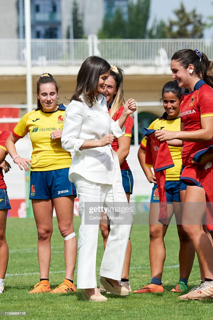 Queen Letizia Of Spain Attends The Training of The Rugby 7 Female National Team : News Photo