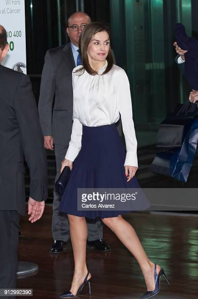 Queen Letizia of Spain attends the VII Cancer Forum 'Por un Enfoque Integral' at the Reina Sofia Museum on February 1 2018 in Madrid Spain