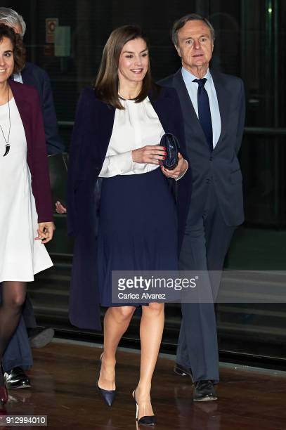 Queen Letizia of Spain attends the VII Cancer Forum 'Por un Enfoque Integral' at the Reina Sofia Museum on February 1, 2018 in Madrid, Spain.