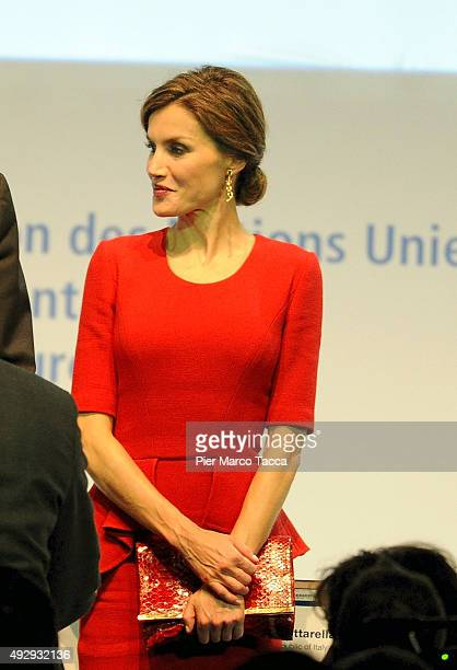 Queen Letizia of Spain attends the World Food Day Expo 2015 on October 16 2015 in Milan Italy The focus of the discussion during the World Food Day...