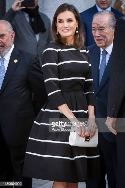 Queen Letizia of Spain attends the 'World Law Congress' closure at Royal Theater on February 20 2019 in Madrid Spain
