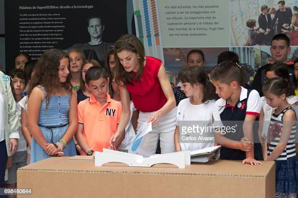 Queen Letizia of Spain attends 'Toma la Palabra' cultural program for schools at the 'El Quirinal' school on June 20 2017 in Aviles Spain