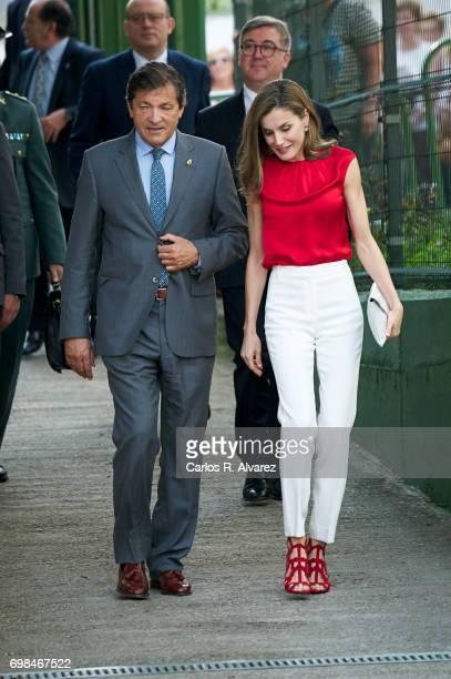 Queen Letizia of Spain attends 'Toma la Palabra' cultural program for schools at the 'El Quirinal' school on June 20, 2017 in Aviles, Spain.