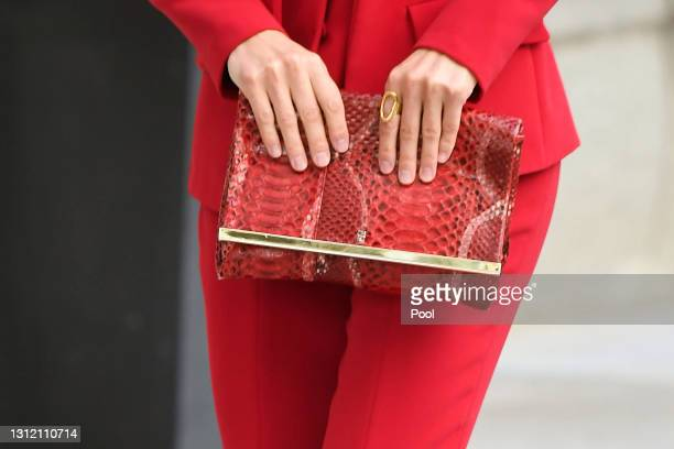 Queen Letizia of Spain, bag detail, attends a Clara Campoamor Tribute at Congress on April 12, 2021 in Madrid, Spain.