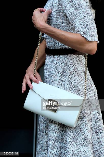 Queen Letizia of Spain, bag detail, attends a meeting at the AECC on July 22, 2021 in Madrid, Spain.
