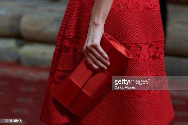 Queen Letizia of Spain bag detail attends the deliver of Princess of Asturias awards medals during the Princess of Asturias Award 2018 at the...