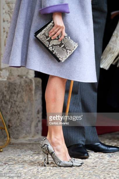 Queen Letizia of Spain bag detail attends the 'Miguel de Cervantes 2018' Award given to Uruguayan writer Ida Vitale at Alcala de Henares University...