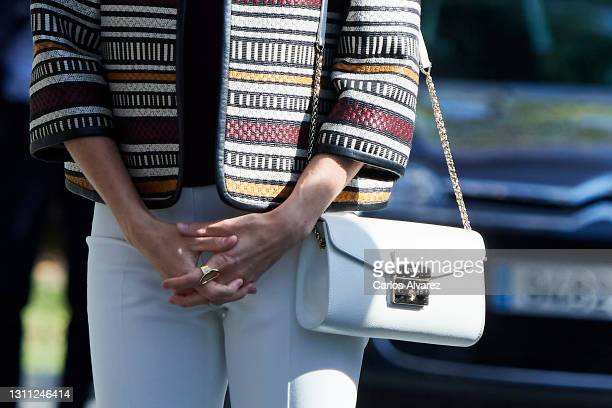 Queen Letizia of Spain, bag detail, visits 'Mutua Madrileña' headquarters on April 07, 2021 in Madrid, Spain.