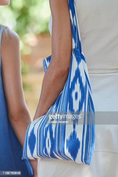 Queen Letizia of Spain, bag detail, visits 'Son Marroig' museum on August 08, 2019 in Palma de Mallorca, Spain.