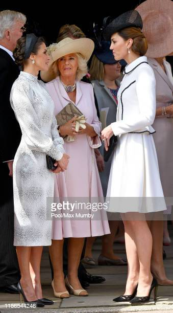 Queen Letizia of Spain Camilla Duchess of Cornwall and Catherine Duchess of Cambridge attend the Order of the Garter service at St George's Chapel on...