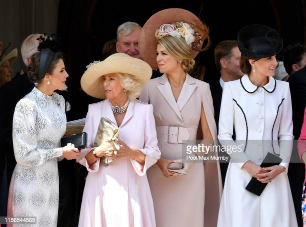 Queen Letizia of Spain Camilla Duchess of Cornwall Queen Maxima of the Netherlands and Catherine Duchess of Cambridge attend the Order of the Garter...