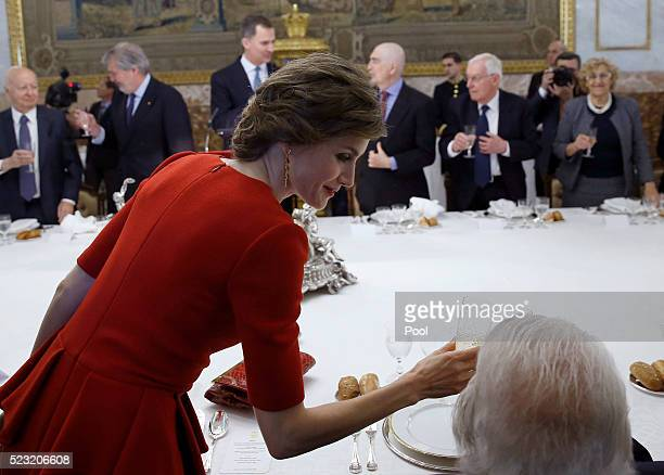 Queen Letizia of Spain cheers to Fernando del Paso during a lunch offered to Mexican writer Fernando del Paso following the Cervantes Prize award at...