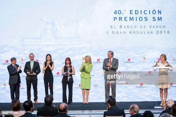 Queen Letizia of Spain Cristina Cifuentes Inigo Mendez de Vigo and Cayetana Guillen Cuervo attend the Literature awards 'Barco de Vapor' at 'Casa de...